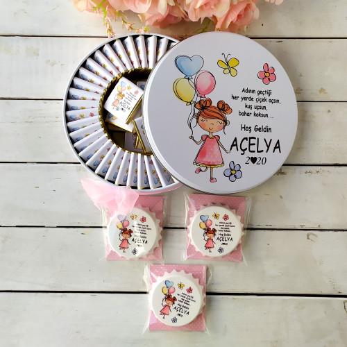 Balonlu Kız Konsept 50 Çikolata 25 Yuvarlak Açacak Magnet