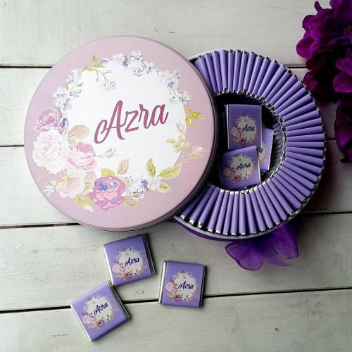 Lila Çiçekli Tema Bebek Çikolatası