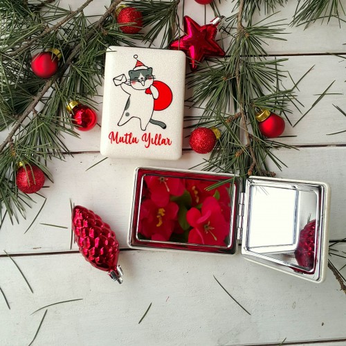 Noel Baba Kedi Cep Aynası